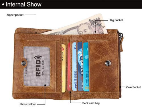 RFID Crazy Horse Genuine Leather Men Wallet Short Card Purse Antimagnetic Bifold