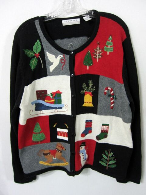 Christmas Sweater XL MARISA CHRISTINA Scenes of the Holiday Beautiful Ugly