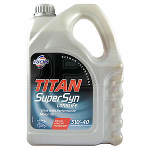 Fuchs titan supersyn longlife 5w 40 synthetic engine oil for 5 w 40 motor oil