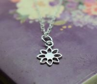 Silver Flower Necklace - Solid Sterling 925 Open Daisy Pendant Charm Chain