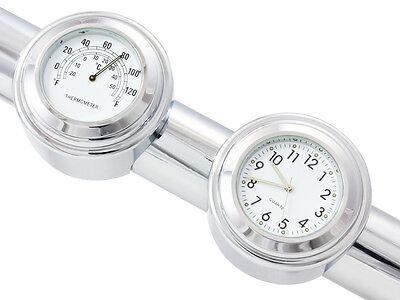 "7/8"" 1"" Handlebar Chrome White Dial Clock Temp Thermometer For Honda Cruiser CB"