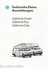 VW California Coach Tour Club Technische Daten Auto Prospekt 1993 Autoprospekt