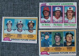 Lot-of-3-1981-Topps-Orioles-Future-Mike-Boddicker-amp-Yankees-Futures-amp-Niekro