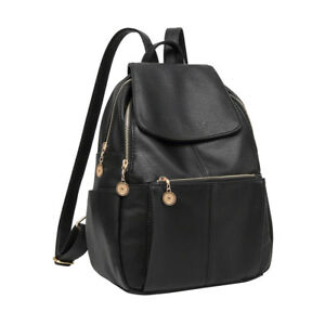 Women-Girl-Leather-Black-Backpack-Satchel-Rucksack-Travel-Shoulder-School-Bag