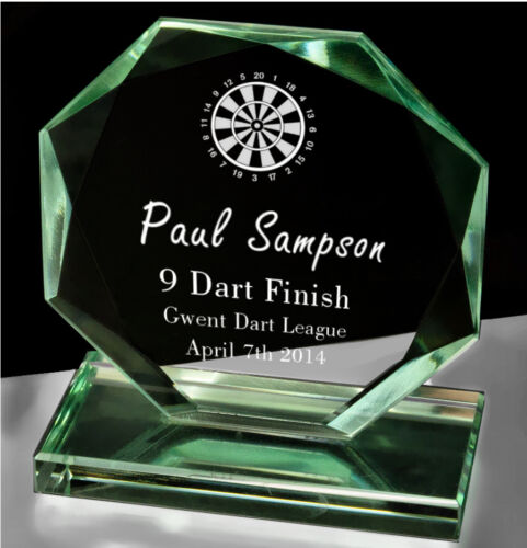 Personalised Octagonal Jade Glass Darts Award Trophy Laser Engraved