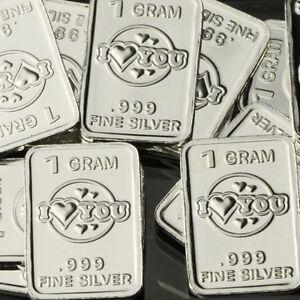 034-I-Love-You-Heart-034-Lot-of-10-1-gram-999-Fine-silver-Bullion-bar-Valentine