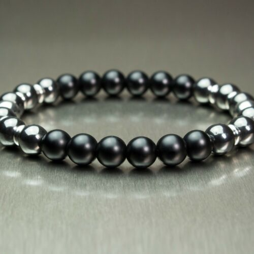 Bijoux Homme//Femme Bracelet  perles 8mm Pierre naturelle Gemme Acier inoxydable
