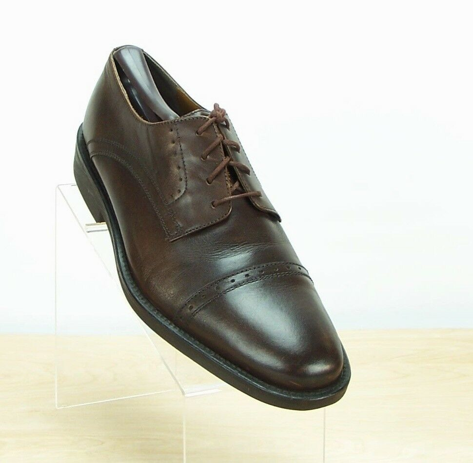 G H BASS & CO Mens Cleaver Leathe Brown Cap Toe Oxfords Lace Up shoes Size 10.5