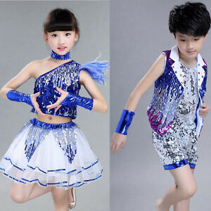 1006aa816f5c Girl Boy Sequined Modern Jazz Hip Hop Dance wear Costume Kids ...