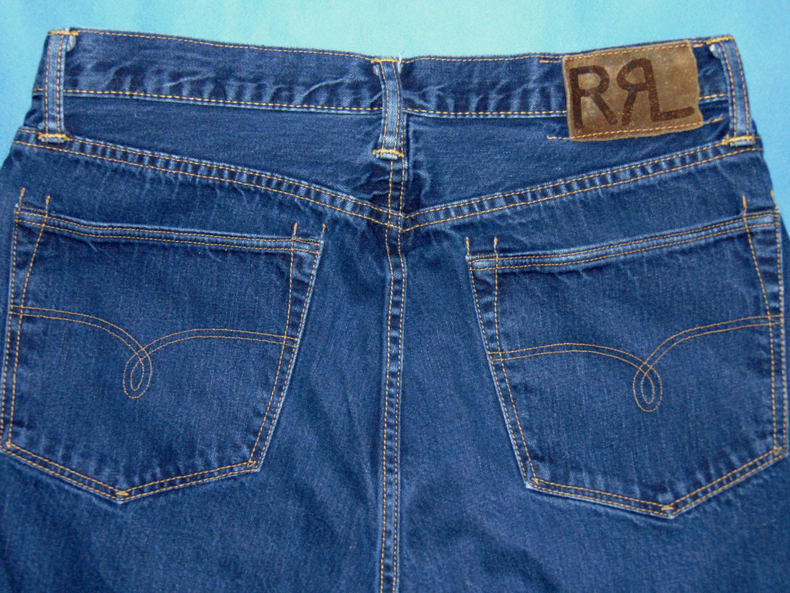 VINTAGE  RRL  STRAIGHT LEG JEANS 100% COTTON  TAGGED 34  ACTUAL 32X32 MADE IN US