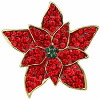 Kirks Folly Perfect Poinsettia Pin Goldtone