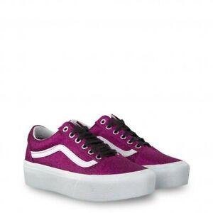 Dettagli su Sneakers Vans Old Skool Platform, fucsia, in tessuto glitterato. Nuove.