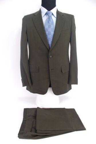 Bijan Beverly Hills 2Btn Suit Dark Green Wool Flat