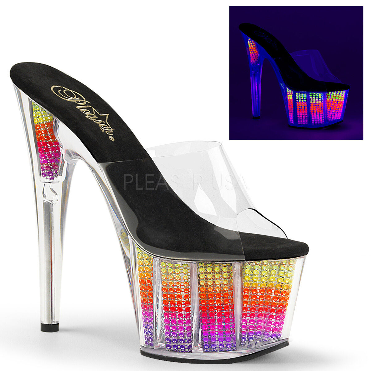 Pleaser Adore-701SRS Slip On shoes Mules Platform High Heels UV UV UV Pole Dancing New 1d6a95