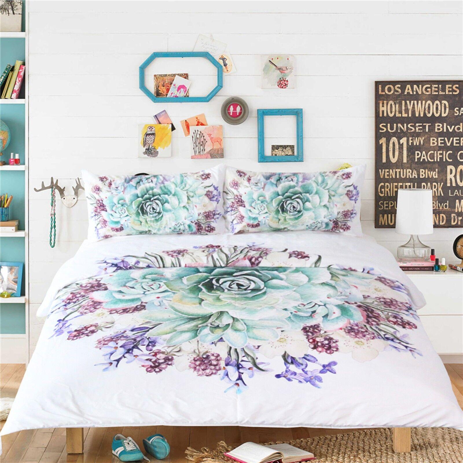 3D Green Flower 461 Bed Pillowcases Quilt Duvet Cover Set Single Queen King AU