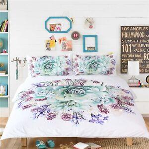 3D-Green-Flower-461-Bed-Pillowcases-Quilt-Duvet-Cover-Set-Single-Queen-King-AU