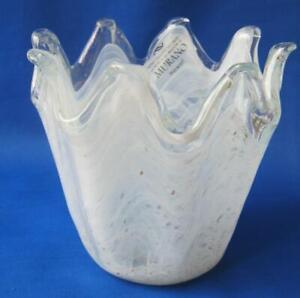 Genuine Italian Art Deco Glass Bowl White Copper Tammaro Italy Murano No 203