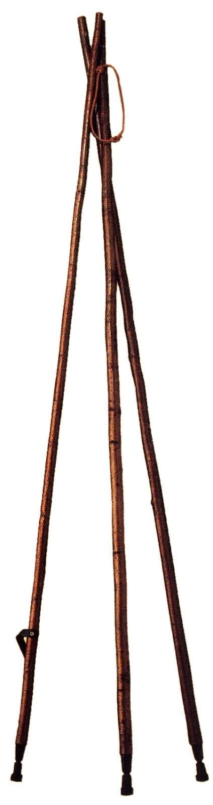 Objetivo objetivo bastón ayuda de avellano-edelkastanie con corteza-tres pierna caza estable