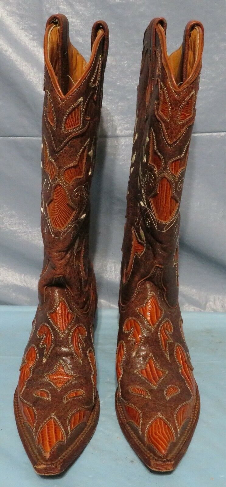 FERRINI 7 B Womens Brown Cognac Leather Embroidered Cowboy Western Boots