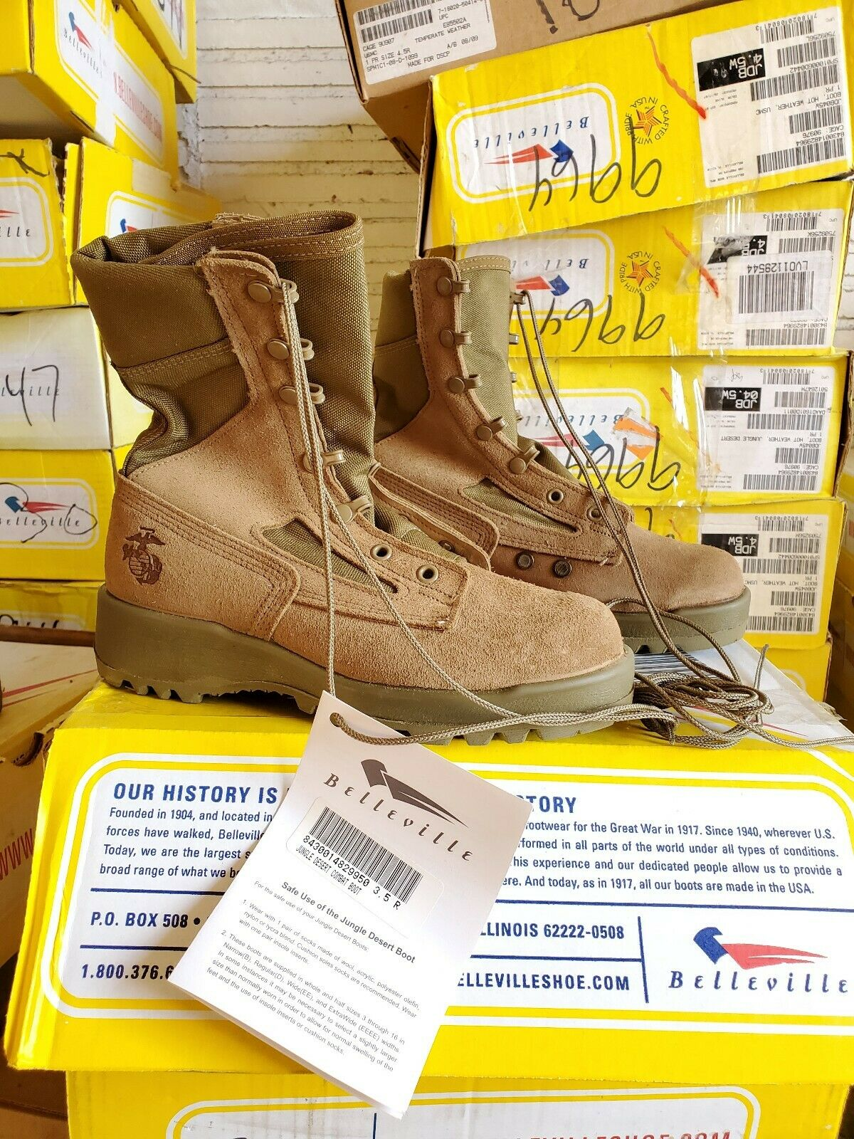 Men's Belleville JDB Hot Weather Military Combat Tactical Jump Boots Size 3 XW