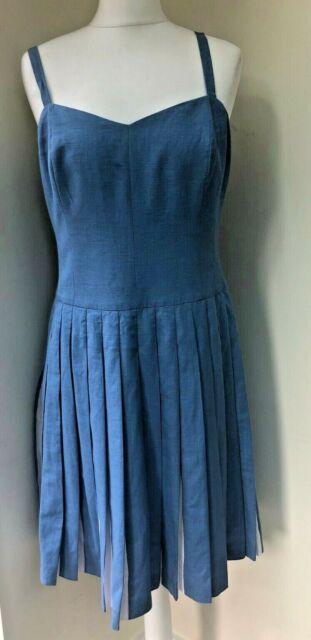 BODEN - STUNNING Linen Blend Pleated Summer Dress - Size UK12R