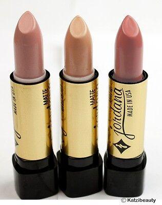 Lot of 3 Jordana Matte Lipstick- Natural Beige Shades