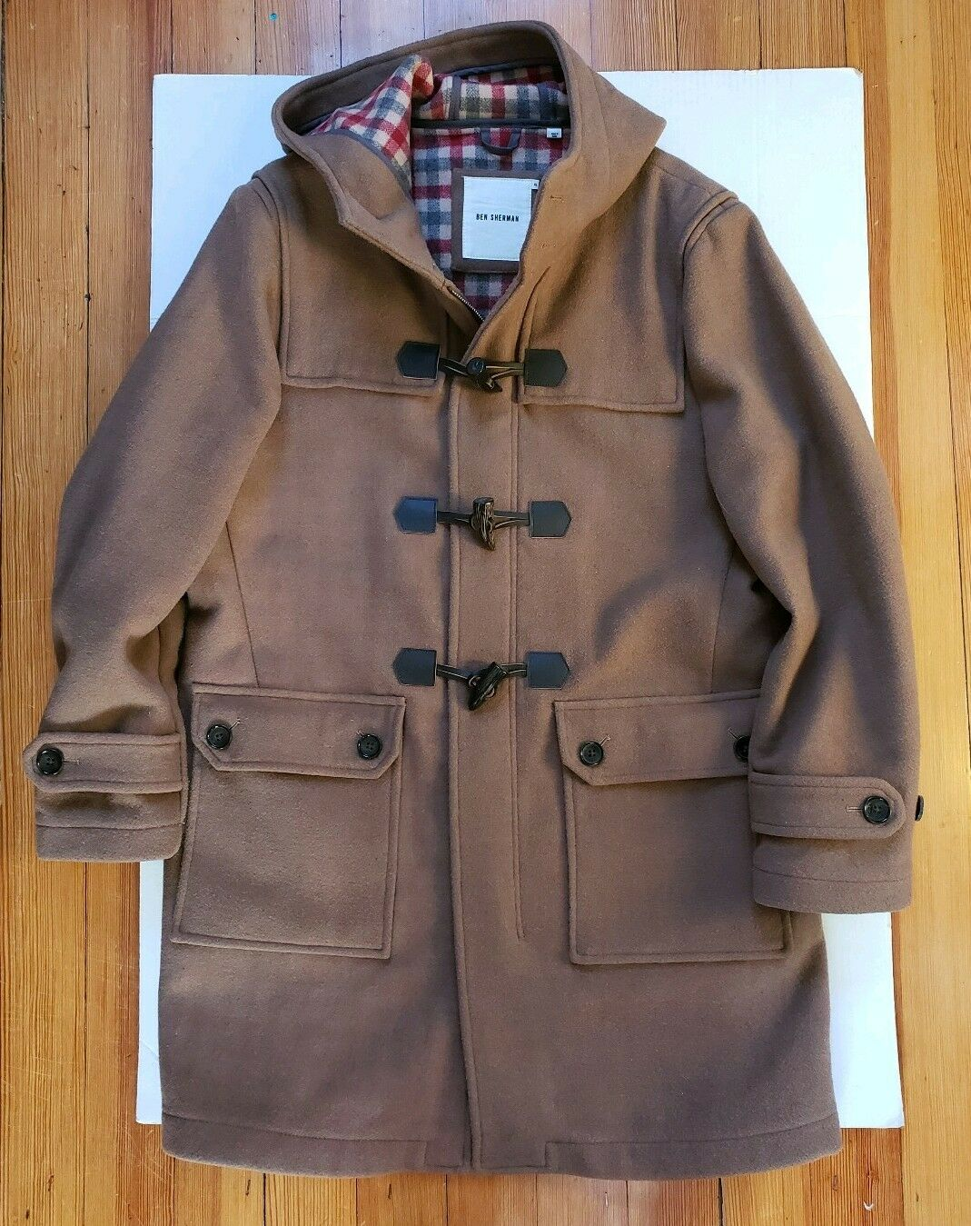 Ben Sherman Men Wool Blend Duffle Hoddie Duffle Coat Camel Brown sz Xl