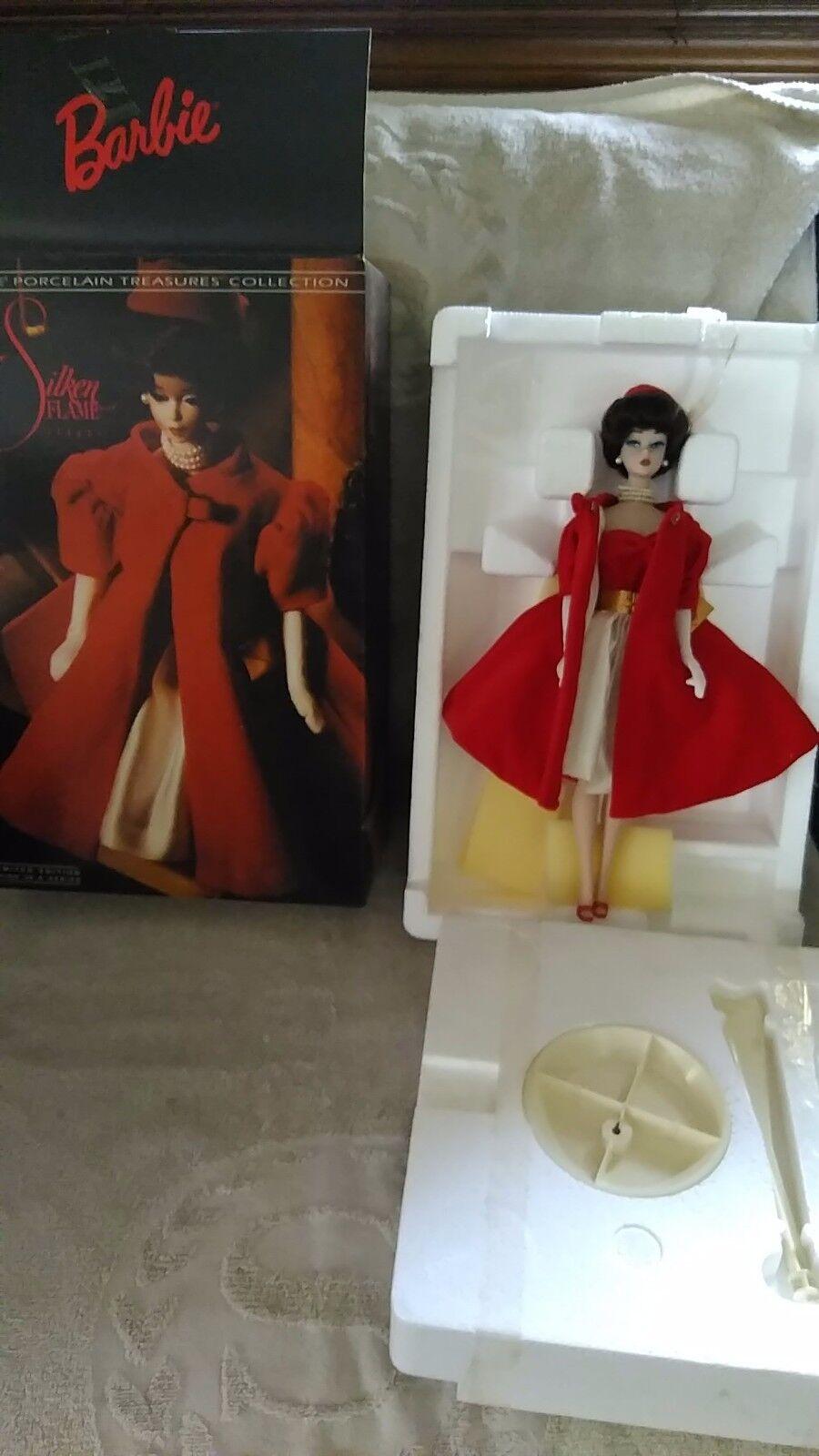 1992 Muñeca Barbie SILKEN FLAME tesoros de porcelana muñeca Barbie con Caja Original