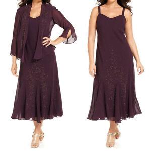 Details about Women\'s Plus Size Beaded Jacket Dress Mother of the Bride  Dresses Tea Length