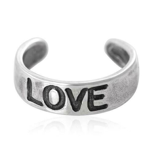 Love Toe Ring Genuine Sterling Silver 925 Adjustable Jewelry Gift