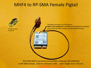 MHF4 / IPX to RP-SMA Female Pigtail for Broadcom BCM94352Z DW1560 DW1820A DW1830
