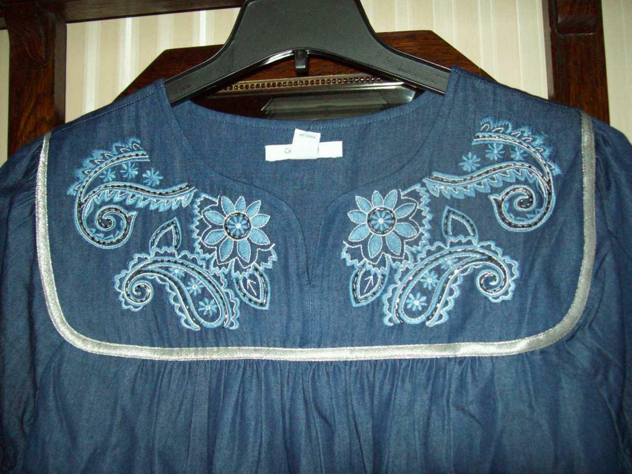 NWT GO SOFTLY 100% COTTON DK DENIM PATIO MUU HOUSE DRESS Blau PAISLEY EMB  L XL