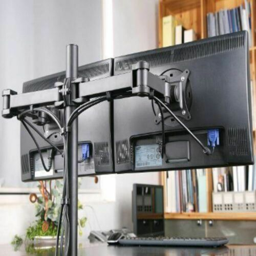 Dual Monitor Stand Mount Double Arm Computer For 13 To 27 Inch LCD LED Screens