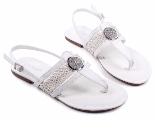 3 Color BAMBOO Rhinestone Sling-back Ankle Buckle Closure Womens Sandals Flats