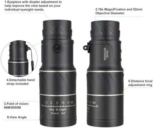 4K 10-300X40mm Super Telephoto Zoom Monocular Telescope Fogproof Waterproof