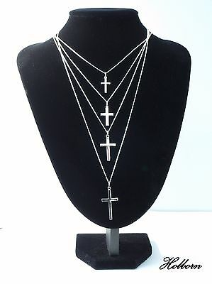 Crucifix Pendant A Choice of Pendant Size and Chain Length 16 to 24 inch Sterling Silver Latin Cross Curb Chain Necklace in Gift Bag