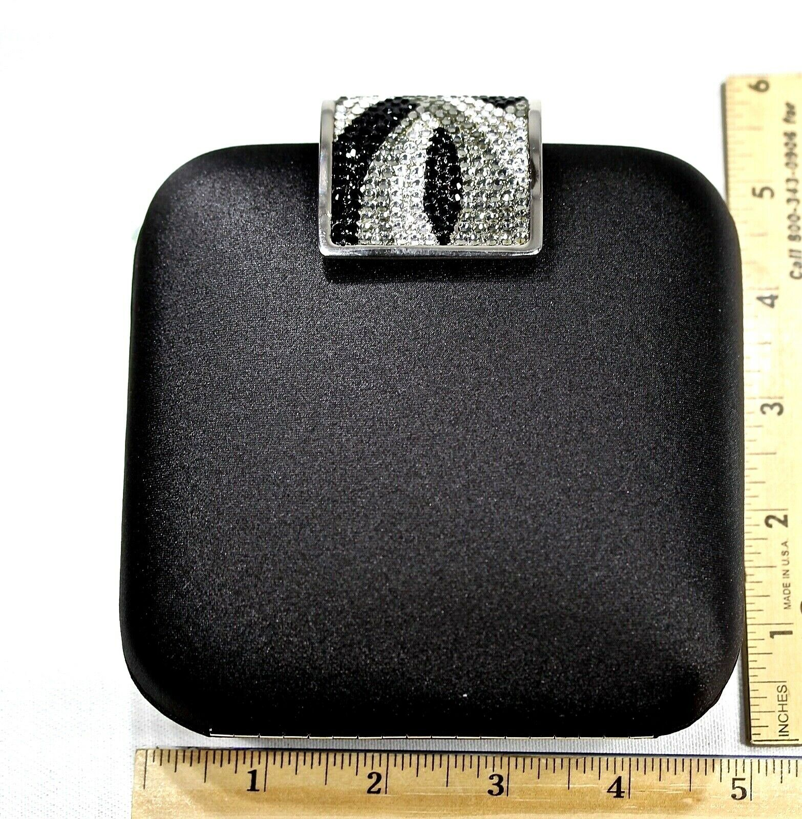 Elegant Satin Crystal Purse Clutch Evening Bag Black Swarovski Crystals Quality