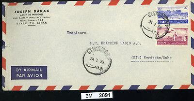 Bm2091, Libanon, 1953, Beyrouth - Herdecke/ruhr, Luftpost