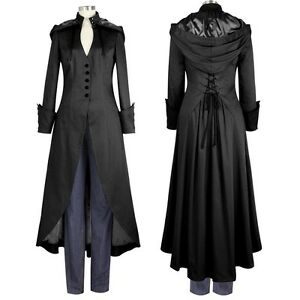 long black gothic victorian high collar hooded corset