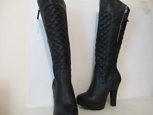 8bb74fe06b7 Details about Wild Diva Lounge Elizabeth-1 Faux Leather Platform Knee High  Boots Black Sz 6.5