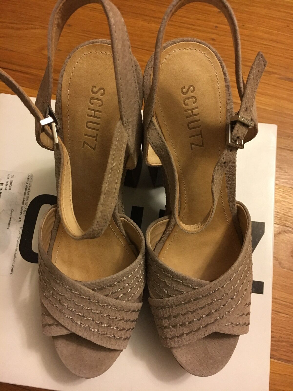 NIB SCHUTZ EDMA NEUTRAL Farbe Farbe Farbe LEATHER Platform Sandals Sz 8M 98f968