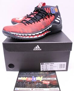 reputable site 27af0 c77c9 Details about Adidas A Bathing Ape Bape Dame 4 Damian Lillard Red Camo  Men's Size 10.5 New