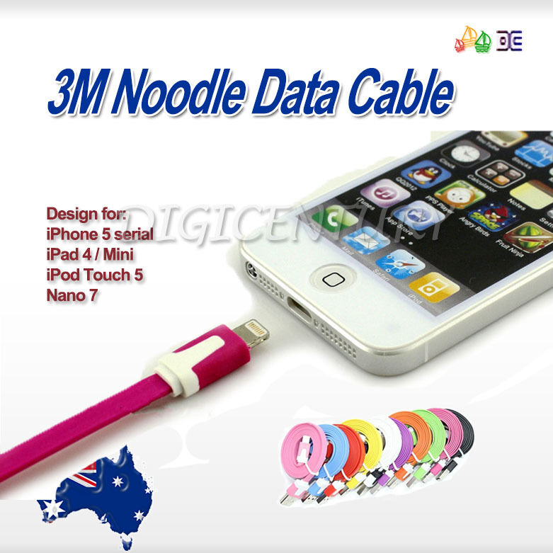 Noodle 3M Long Flat Lead For IPHONE 6 5 5S IPOD TOUCH IPAD Mini CHARGING CABLE