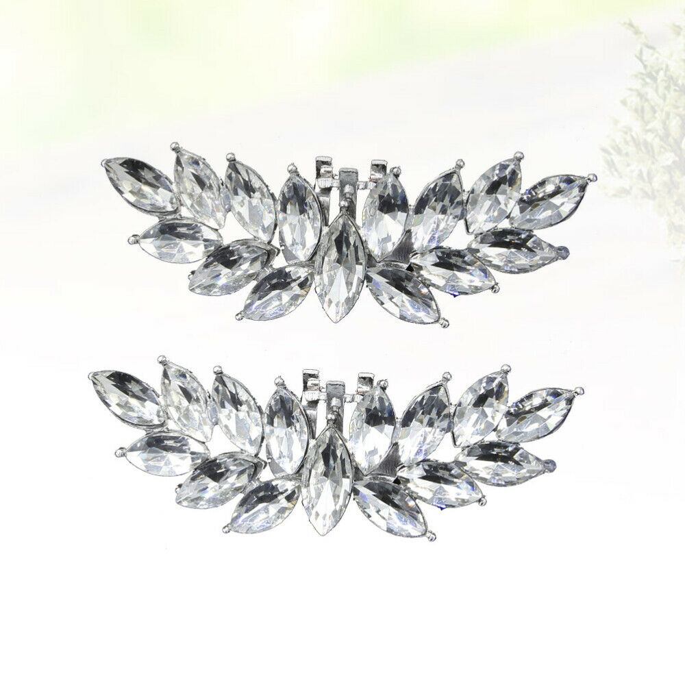 1 Pair of Shoe Buckles Rhinestone Inlaid Alloy Shoe Clips for Women Girls Bride