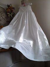 Francés antiguo victoriano Vestido de bautizo del bebé/Enagua ~ Algodón/Pinzas ~ Reliquia