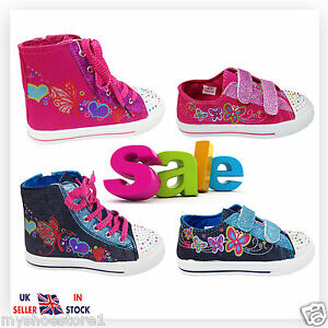 GIRLS-CHILDREN-LIGHT-UP-TRAINERS-DIAMANTE-CANVAS-BOOTS-PUMPS-PLIMSOLL-SHOES-SIZE