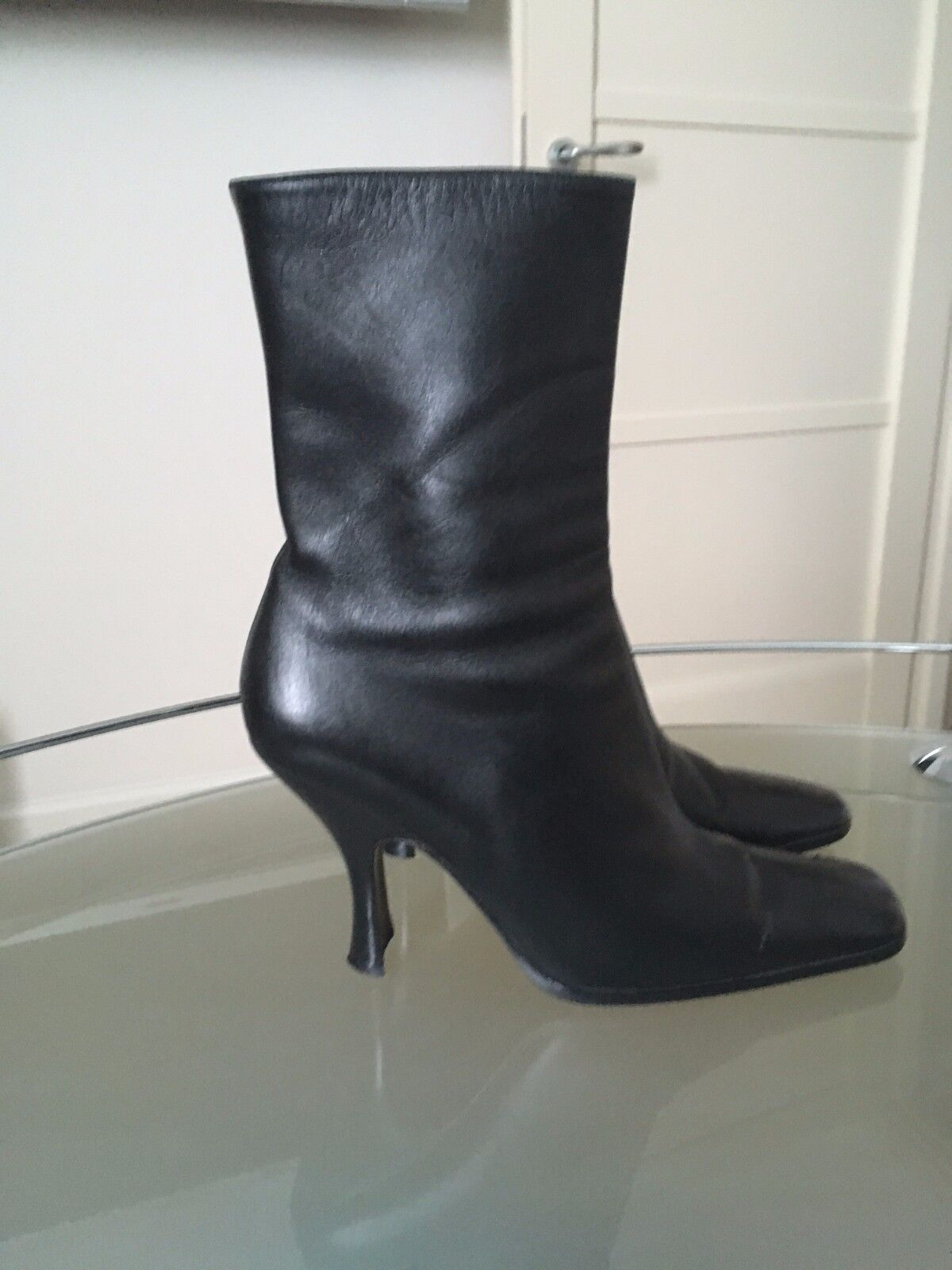 Prada Short Leather Boots Size 39 (US 9) Square Toe