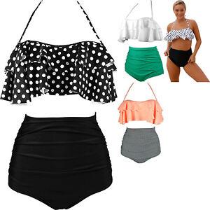 e1990efbd6364 Retro boho flounce high waist swimsuit summer women swimwear beach ...