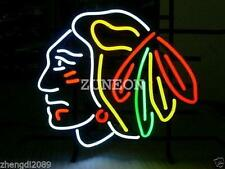 Big Size CHICAGO BLACKHAWKS HOCKEY Real Glass Neon Sign Beer Bar Light Fast Ship