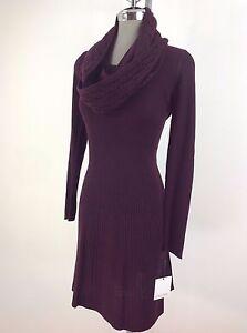 Calvin-Klein-NEW-Elegant-Aubergine-Time-Less-Sweater-Dress-amp-Scarf-Women-size-L